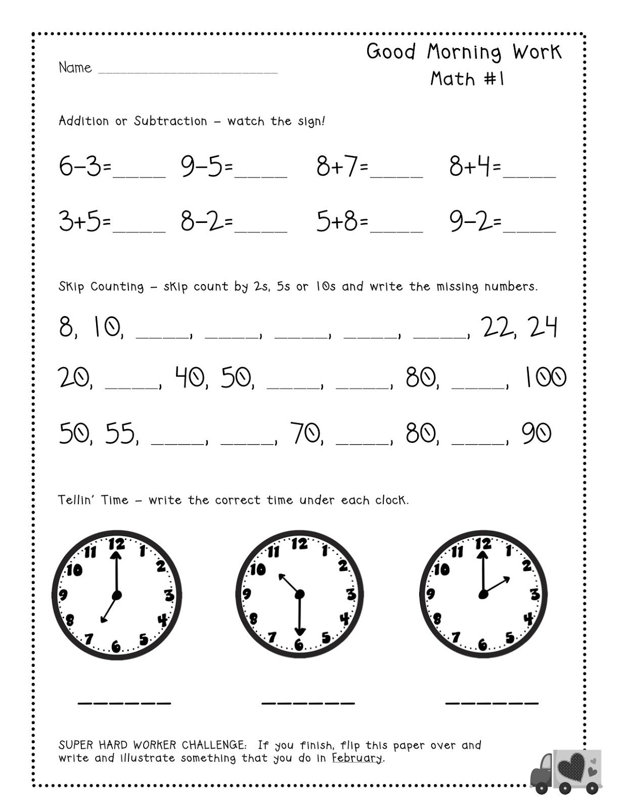 Free Tester Good Morning Work Pages For Firsties Common