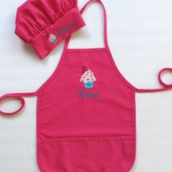 Cute Kitchen Aprons Ikea Bar Personalized Apron And Chef Hat For Kids Childrens