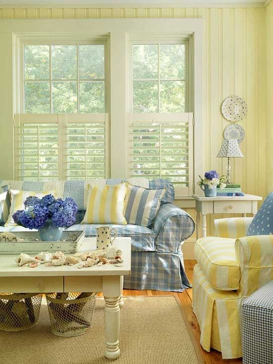 Yellow and blue living room it really is how  always envisioned my would probably use navy hints of  soft once we move the also english country cottage decor everything coastal beach rh pinterest