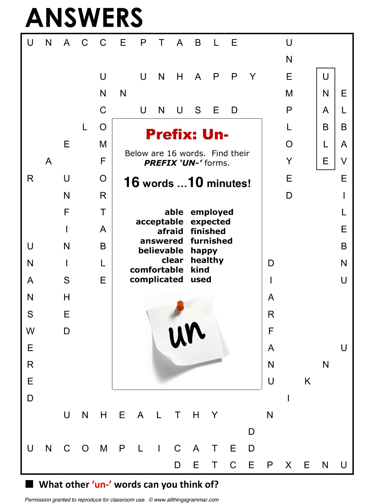 English Grammar Prefix Un Lthingsgrammar Prefix Un