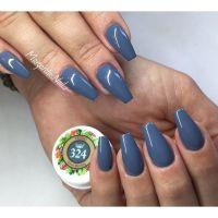 Grey coffin nails fall colors nail design ...