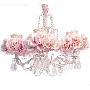 5 Arm Light Pink Chandelier Luxury Nusery Lighing Fl Shabby Chic