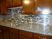 glass tile kitchen backsplashes pictures | Metal and White ...