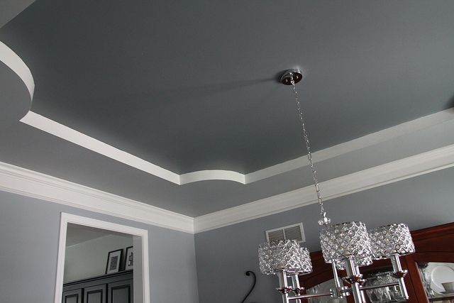 Great way to paint a tray ceiling and break up the colors