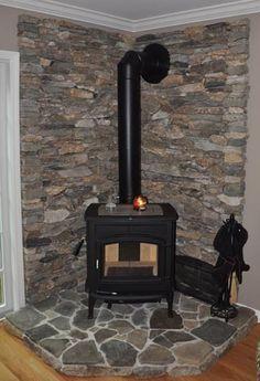 Image result for corner rock wood stove