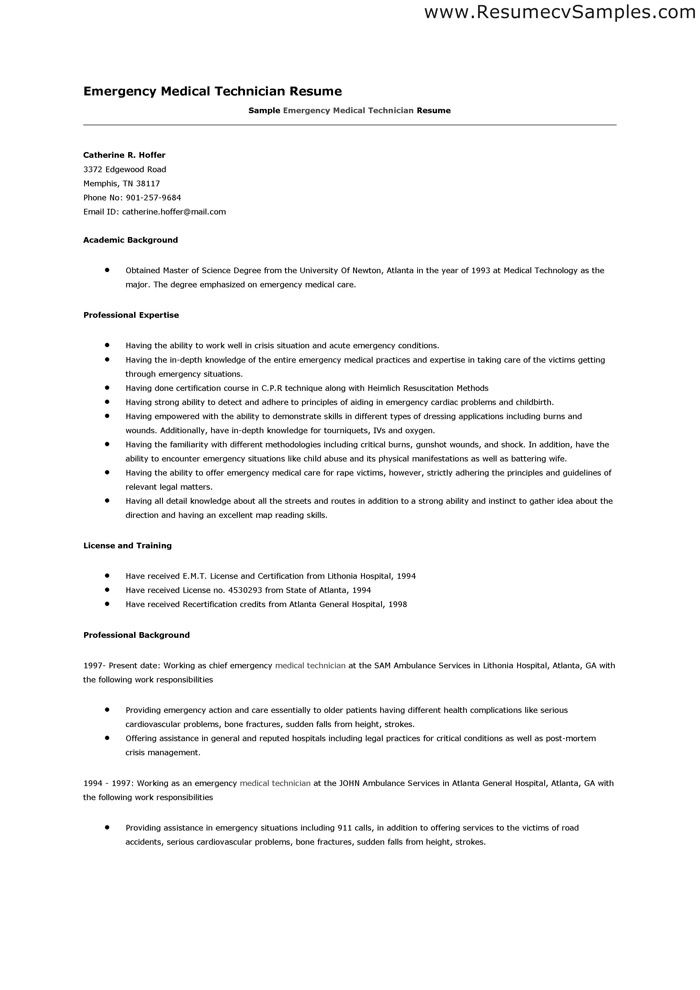 Lovely Perfect EMT Resume Google Search Irma Pinterest Medical For Emt Resume Examples