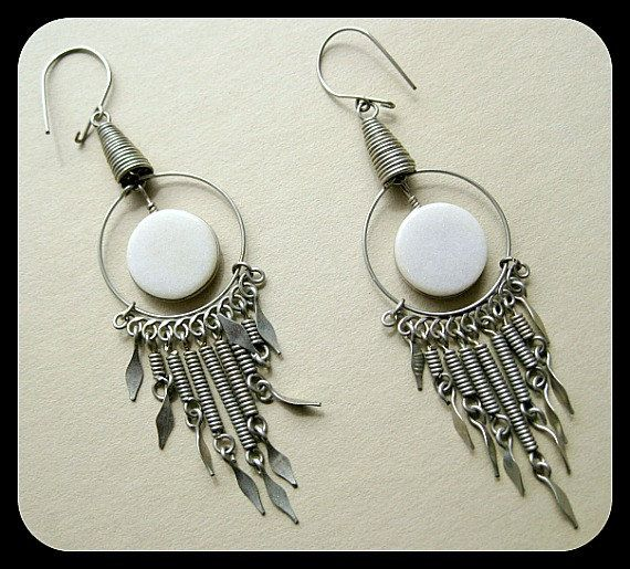 Vintage Drop Earrings Boho Long Dangly Chandelier Hippie Native American Mexican
