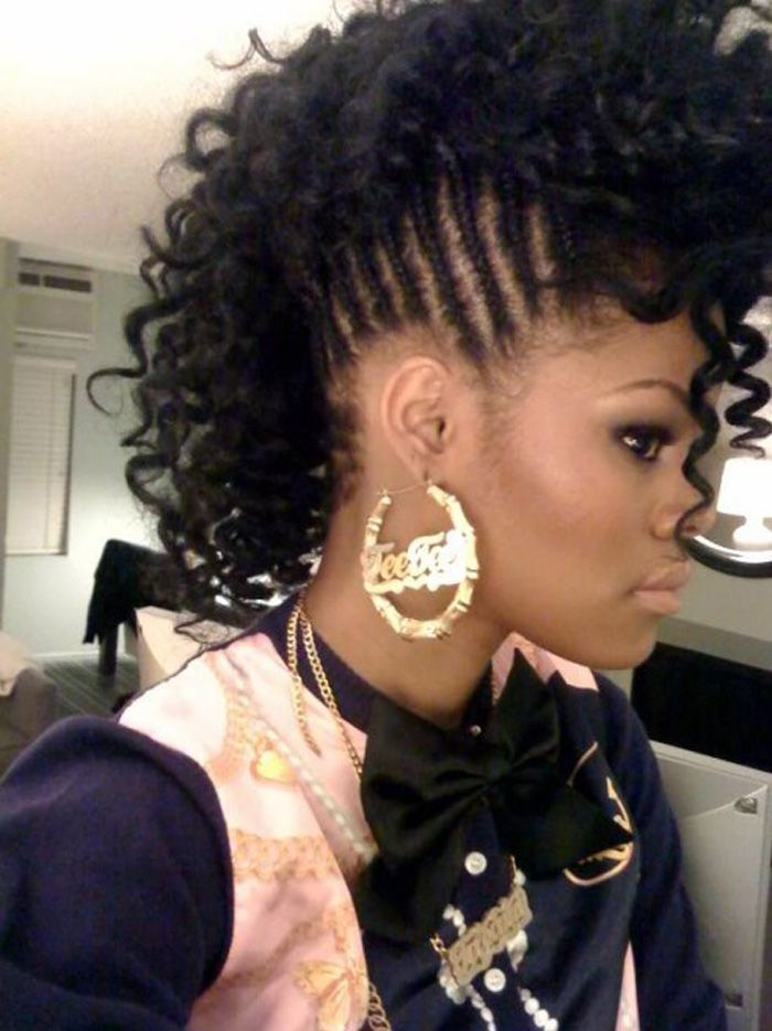 Black Natural Curly Mohawk Hairstyles Wowhairstyle Com