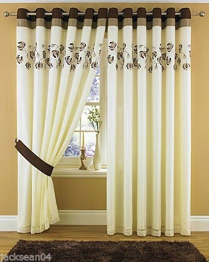 Details About RING TOP FULLY LINED PAIR EYELET READY MADE CURTAINS