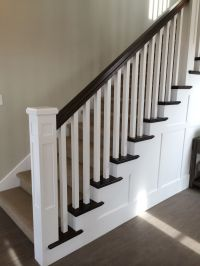 White newel post, charcoal stained handrail, white square ...