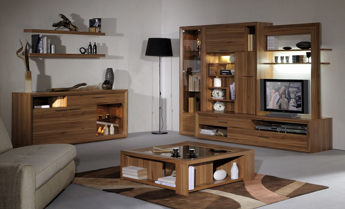 Simple Style Living Room Decoration With Wood Storage