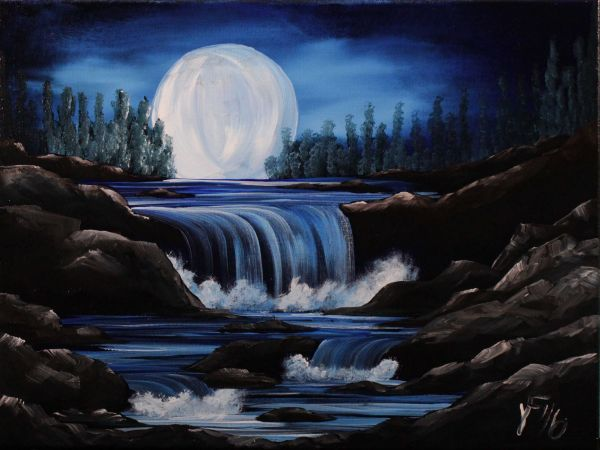 Moon River Step Acrylic Painting Canvas
