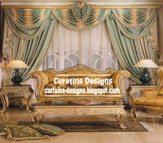 Luxury Italian Drapes Curtain Design In Green And Gold Living