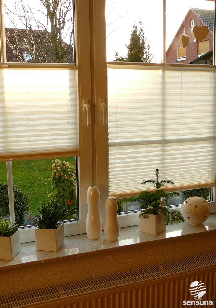 Sichtschutz Plissee von sensuna frs Wohnzimmer Fenster  zuhause  Pinterest  Wohnzimmer