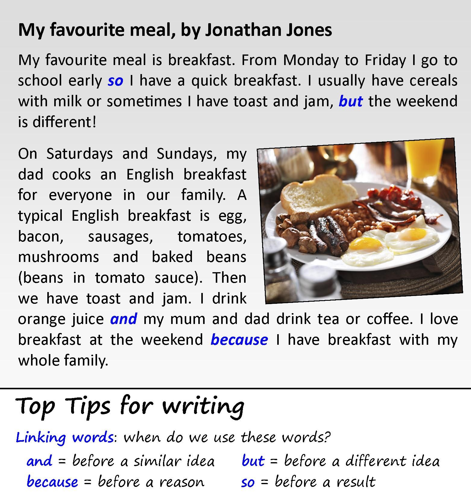 English Meals Text Elementary