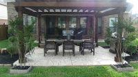 stamped concrete patio with pergola | gorgeous backyard ...