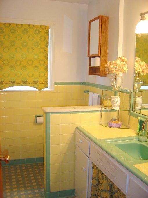1950s bathroom  1950s yellow and green bath tile redo