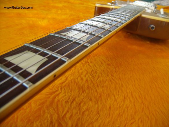 Fret edge binding on a Fernandes Super Grade Gold Top