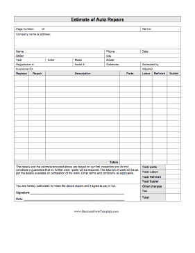 Use This Printable Business Form To Write Up An Estimate