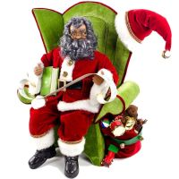 African American Santa Sitting on a Chair Decoration ...