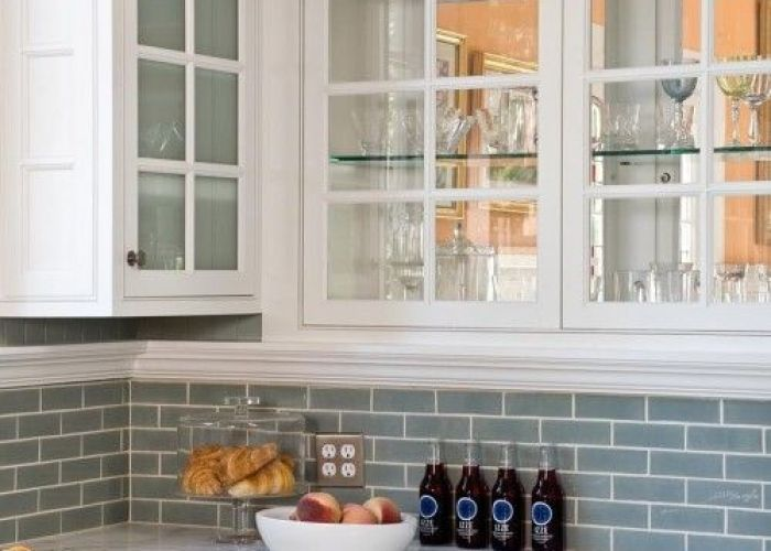 Blue subway tile backsplash with white cabinets also for the home