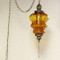 Vintage hanging light - hanging lamp - swag lamp - amber ...