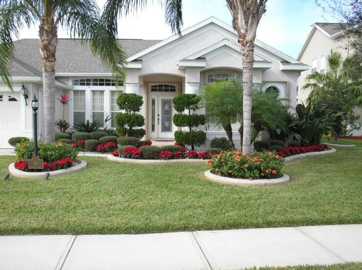 Front Yard Landscape Plans With Red Flowers And Trees Plus