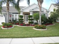 front yard landscape plans with red flowers and trees plus ...