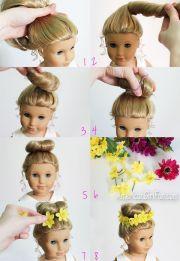 american girl fan hairstyle bun