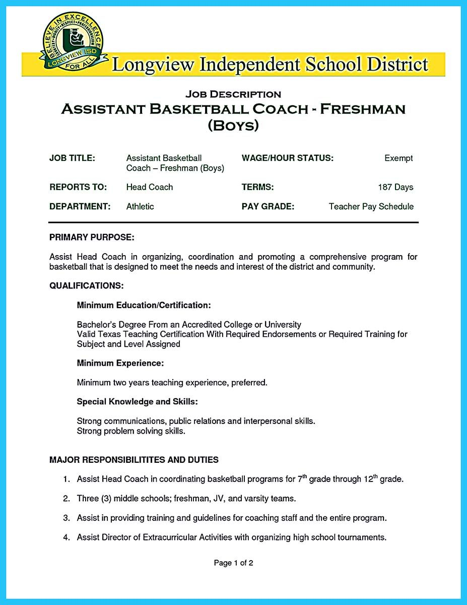 When You Write Your Resume Especially A Resume For A Basketball
