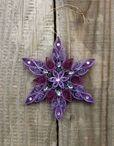 Quilled purple shiny snowflake ornaments xmas tree hanging holiday  home decor wall display diameter   layers also rh pinterest