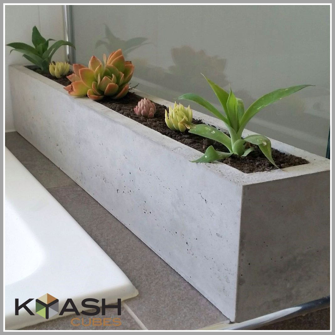 Polished concrete planter; large rectangular 900mm
