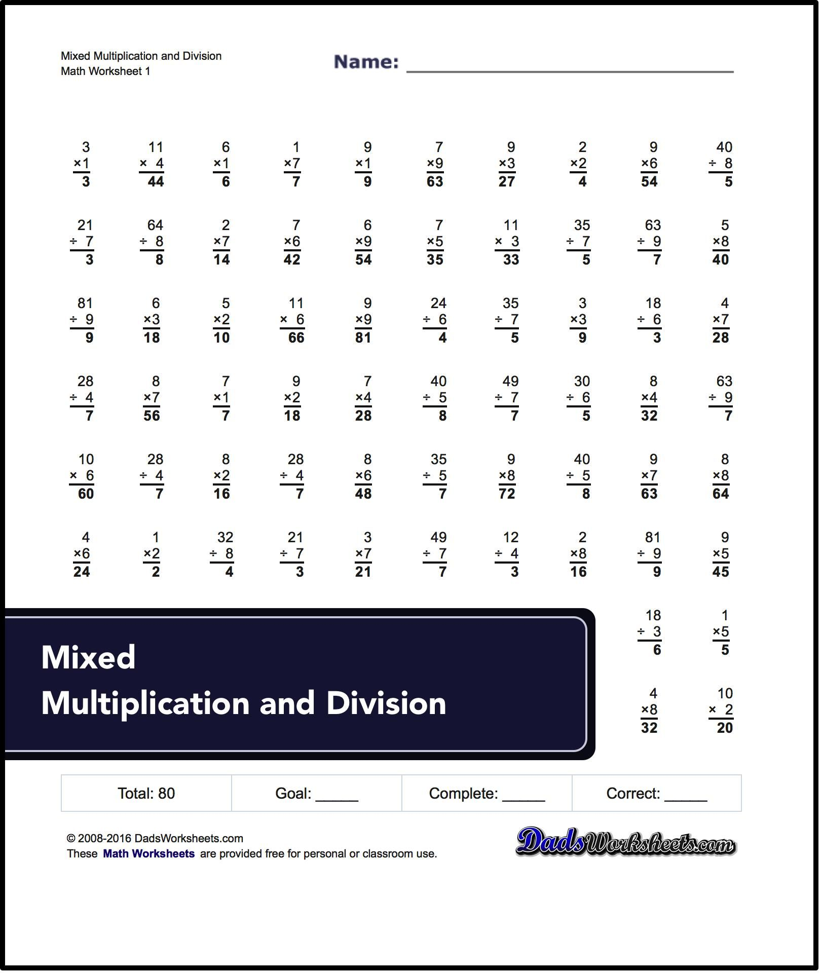 Collection Of Multiplication And Division Worksheets That