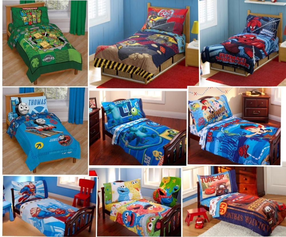 4pc boys toddler bedding set comforter+sheets bed in a bag crib