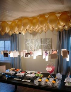 Love this idea for  graduation party or special birthday photos hanging from balloons to create chandelier over tablery fun decoration also photo hangers awesome ideas pinterest rh