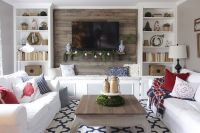 Christmas living room with bookcases converted into built ...