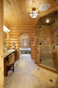 Log cabin master bathroom | I want this | Pinterest ...