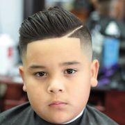 boy faded pompadour with line