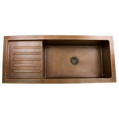 Kitchen Sinks With Drain Boards Black Appliance Packages Single Well Copper Undermount Sink Side