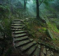 Stairway to old castle- Karkonosze Mountains, Poland ...