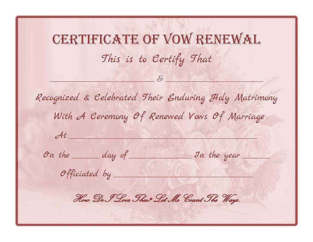 Free Printable  Vow Renewal Certificate  All Things Wedding  Pinterest  Certificate Free