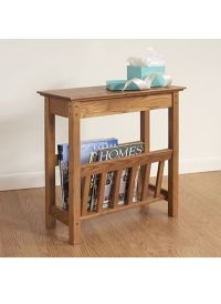 Narrow side table with magazine rack