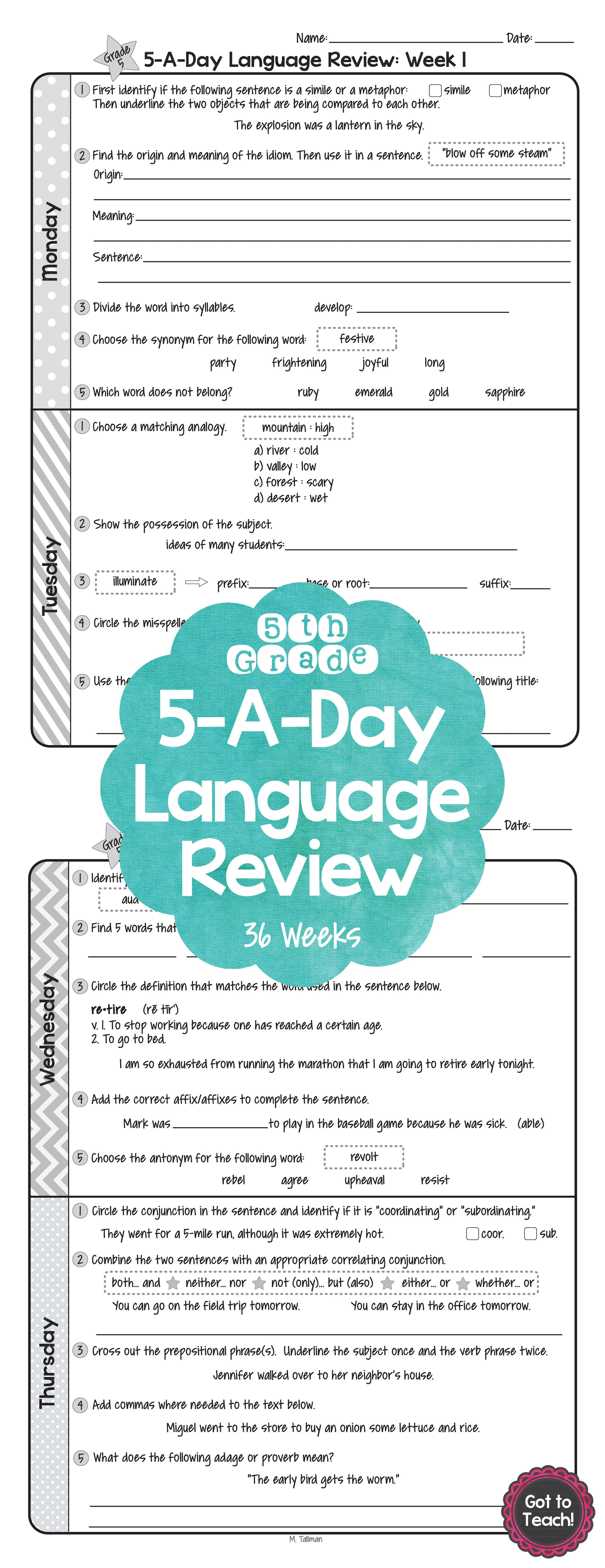 36 Weeks Of Daily Common Core Language Review For 5th
