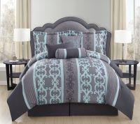 7 Piece Queen Zareen Gray/Aqua Comforter Set | bedding ...