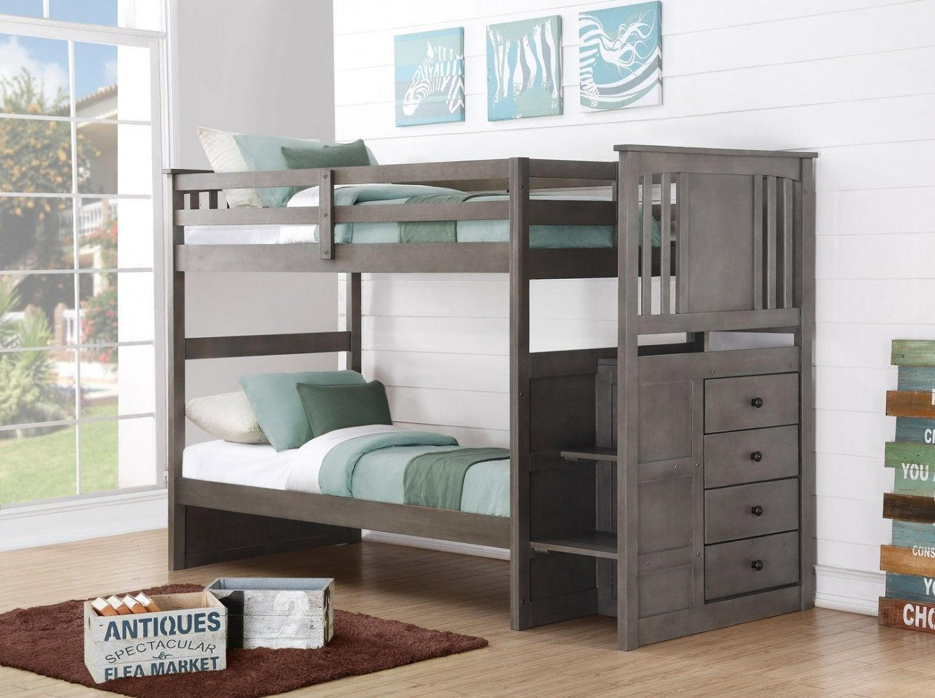Harrison Grey Twin Bunk Bed with Stairs  Storage drawers