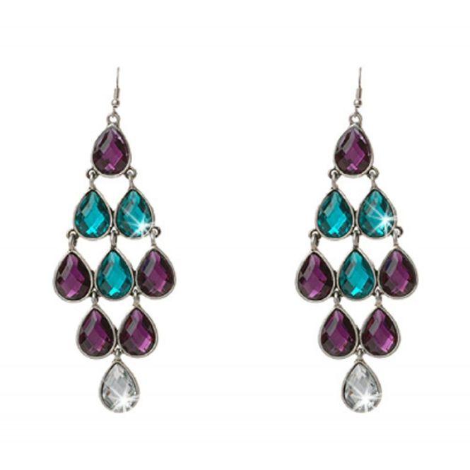 Earrings Aqua Purple Crystal Chandelier Alila Online Boutique
