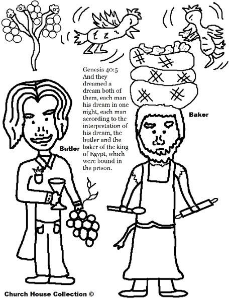 Joseph Interprets The Butler and bakers dreams coloring