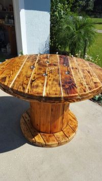 Dining room table made from large wooden spool | my ...