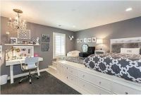 Gray and white bedroom, lifted bed, built in storage ...
