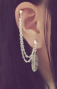 Feather Cartilage Chain Earring Double Lobe Helix Ear Cuff ...